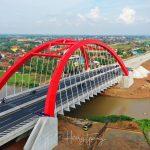 Foto Drone Jembatan Pelengkung Kali Kuto Tol Trans Jawa